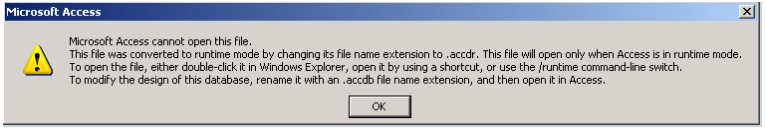 Microsoft Access cannot open this file ACCDR