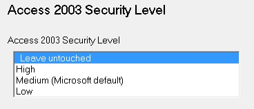 Access 2003 Security Level
