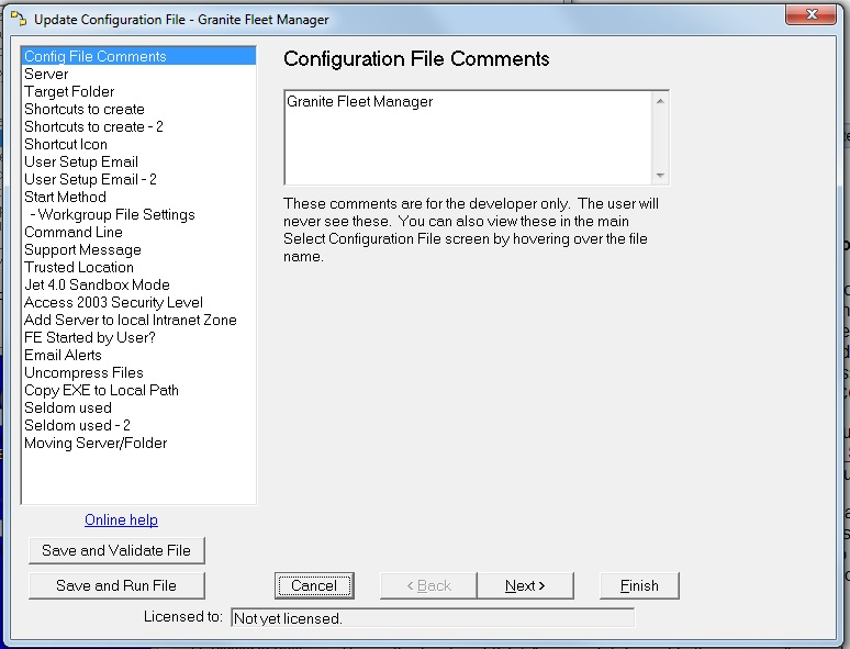 Settings -Config File Comments