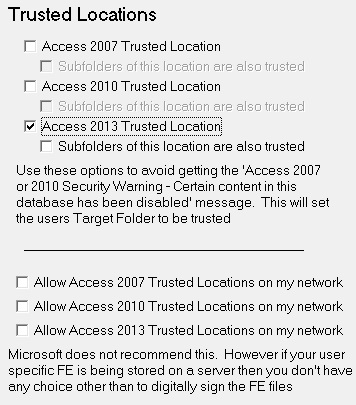 Settings - Trusted Locations